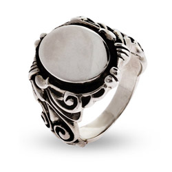 Engravable Ornate Scroll Design Sterling Silver Signet Ring