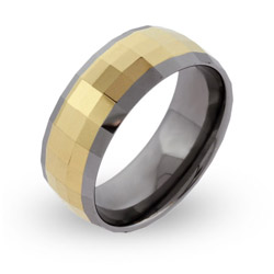 Men's Engravable Rectangle Cut Gold Tungsten Ring