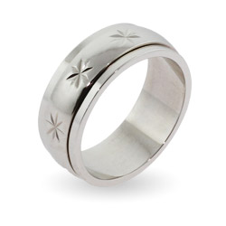 Engravable Sterling Silver Starburst Spinner Ring