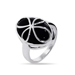 Sterling Silver Cross Ring with Inlaid Onyx