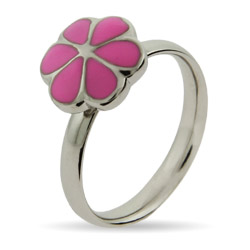 Stackable Reflections Pink Magnolia Enamel Stackable Ring