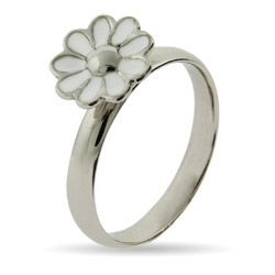 Stackable Reflections White Daisy Enamel Stackable Ring