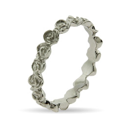 Stackable Reflections Thin Band of Roses Stackable Ring