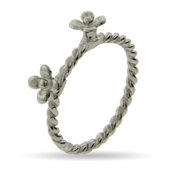 Stackable Reflections Double Silver Flower Stackable Ring