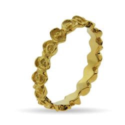 Stackable Reflections Gold Vermeil Band of Roses Stackable Ring