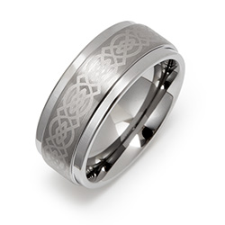 8 mm Celtic Design Engravable Tungsten Ring