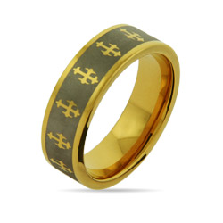 Engravable Gothic Cross Gold Tungsten Band