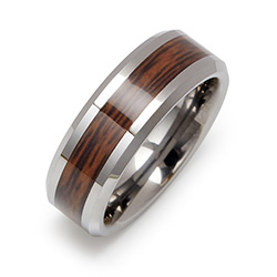 Wood Grain Inlay Engravable Tungsten Ring