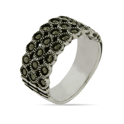 Triple Row Sterling Silver Marcasite Band