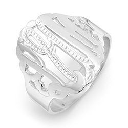 Sterling Silver Diamond Cut Custom Monogram Ring
