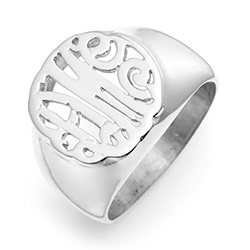 Sterling Silver Custom Monogram Signet Ring