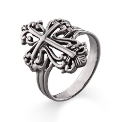 Sterling Silver Ornate Cross Ring