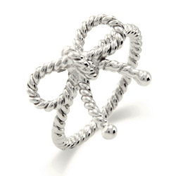 Tiffany Inspired Sterling Silver Twisted Bow Ring