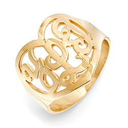 Gold Vermeil Custom Monogram Heart Ring