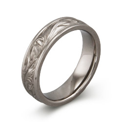 Engravable Handcrafted Vine Design Titanium Ring