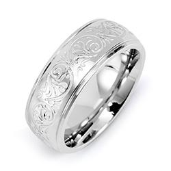 Engravable Mens Stainless Steel Carved Design Ring