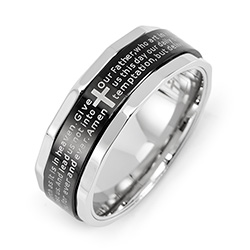 Engravable Stainless Steel Lords Prayer Spinner Ring