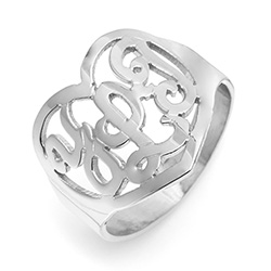 Sterling Silver Custom Monogram Heart Ring