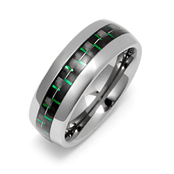 Men's Tungsten Ring with Green Carbon Fiber Inlay