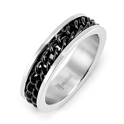 Men's Stainless Steel Ring with Black Chain Inlay