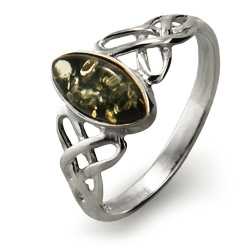 Genuine Green Baltic Amber Silver Celtic Knot Ring