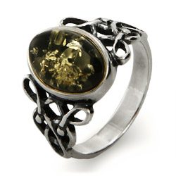 Woven Celtic Knot Genuine Green Baltic Amber Ring
