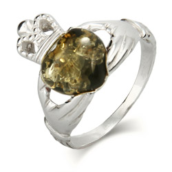 Genuine Green Baltic Amber Sterling Silver Claddagh Ring