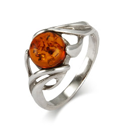 Mystical Sterling Silver Baltic Amber Ring