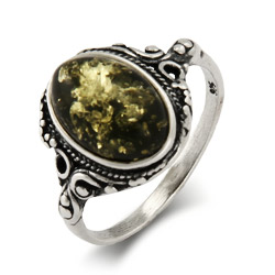 Green Baltic Amber Sterling Silver Ring in Victorian Setting