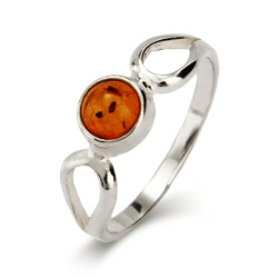 Petite Sterling Silver Round Cut Amber Ring