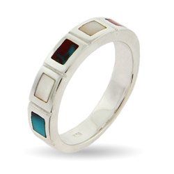 Turquoise and Mother of Pearl Silver Stackable Band