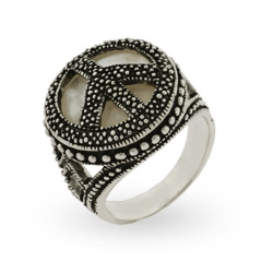 Designer Style Sterling Silver Marcasite Mother of Pearl Peace Sign Ring