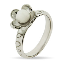 Stackable Reflections Flower with Pearl Silver Stackable Ring