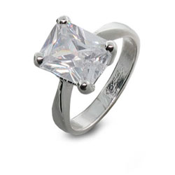 Solitaire Princess Cut White CZ and Sterling Silver Ring