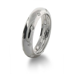 Tiffany Style Etoile Band with Inlaid Cubic Zirconia