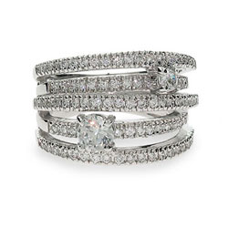 Sterling Silver Five Band Ring with Scattered Clear CZ
