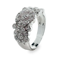 Tiffany Inspired Diamond Cubic Zirconia Rose Ring