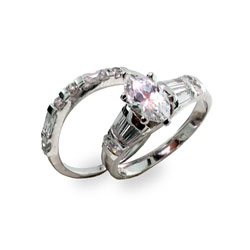 Sterling Silver Marquise Cubic Zirconia Ring Set