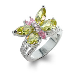 Caitlin's Peridot and Pink Butterfly Ring with Diamond CZ Bands