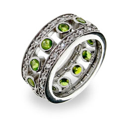 Sterling Silver Peridot Jazz Club Band