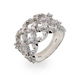 Sterling Silver CZ Basket Weave Band