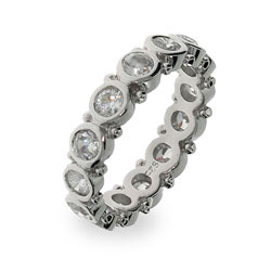 Sterling Silver Bezel Set Eternity Band