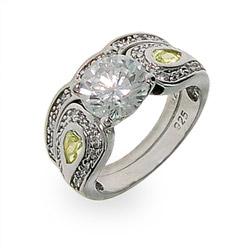 Victoria's Heirloom Silver & CZ Engagment Ring Set