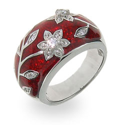 Ruby Red Enamel Ring with Vintage CZ Flower Design