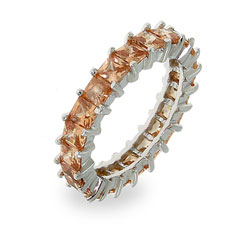 Sparkling Champagne Princess Cut Eternity Band