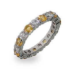 Emma's Sterling Silver Canary and Clear Stackable CZ Band