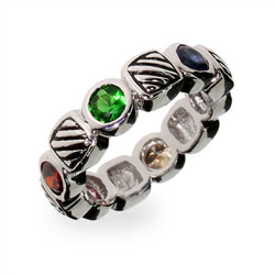 Designer Inspired Multi Color CZ Cable Ring
