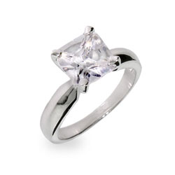 Princess Cut Solitaire CZ Sterling Silver Ring