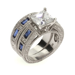 Audrina's Sapphire and Diamond CZ Silver Ring Set