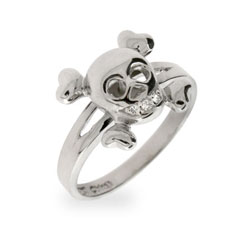Angelina's Sterling Silver CZ Skull and Crossbones Ring